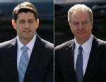 PHOTO: House Budget Committee Chairman Rep. Paul Ryan, R-Wis. and Rep. Chris Van Hollen, D-Md arrive at the West Wing of the White House in Washington, March 7, 2013, for a private lunch with President Barack Obama.