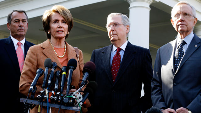 PHOTO: House Minority Leader Nancy Pelosi, second from left, accompanied by, from left, House Speaker John Boehner, Senate Minority Leader Mitch McConnell, and Senate Majority Leader Harry Reid, speaks to reporters outside the White House in Washington, N