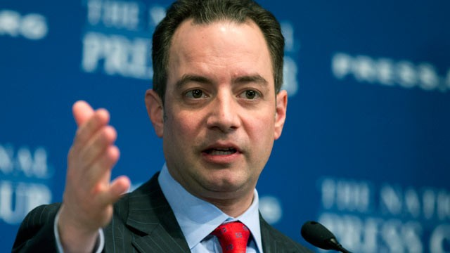 PHOTO: Republican National Committee (RNC) Chairman Reince Priebus gestures while speaking at the National Press Club in Washington, March 18, 2013.