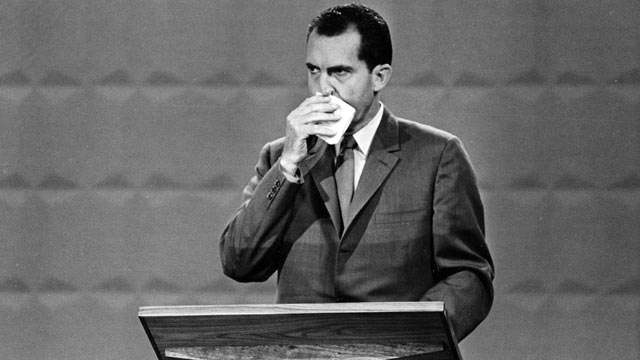 PHOTO: U.S. Republican presidential candidate, Vice President Richard M. Nixon wipes his face with a handkerchief during the nationally televised presidential debates with Sen. John F. Kennedy,