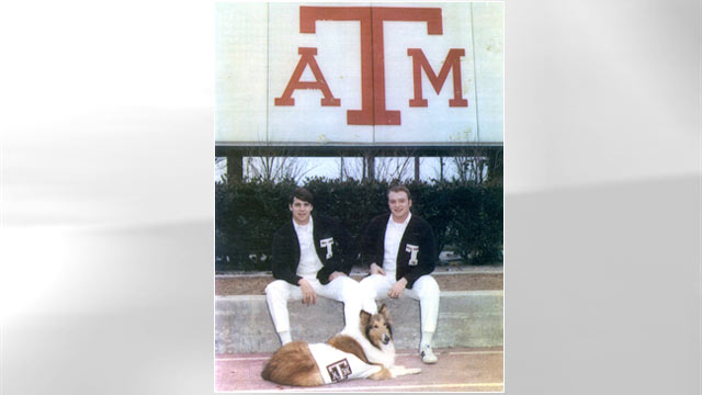 PHOTO: Texas Governor Rick Perry was selected as a yell leader at Texas A&M University in College Station, Texas during his senior year of college. The all-male yell leader squad cheers at all Aggie football games.