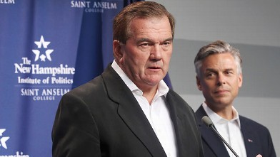PHOTO: In this Sept. 16, 2011 photo, former Pennsylvania Gov. and Homeland Security Secretary Tom Ridge, left, gestures while speaking with Republican presidential candidate, former Utah Gov. Jon Huntsman in Manchester N.H.