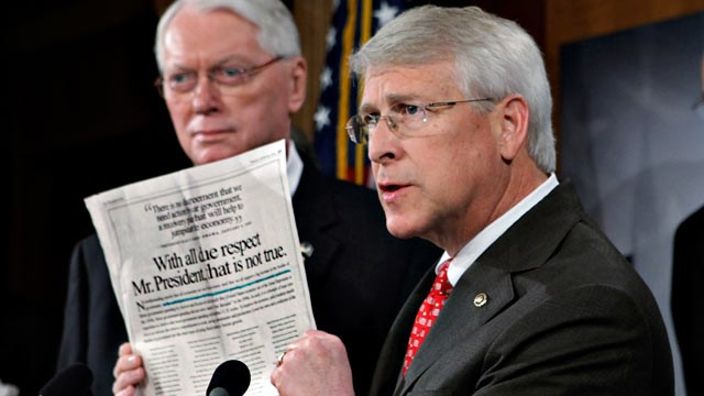 PHOTO: Sen. Roger Wicker, R-Miss., seen here on Jan. 29, 2009 received a letter with ricin or another poison on April 16, 2013.