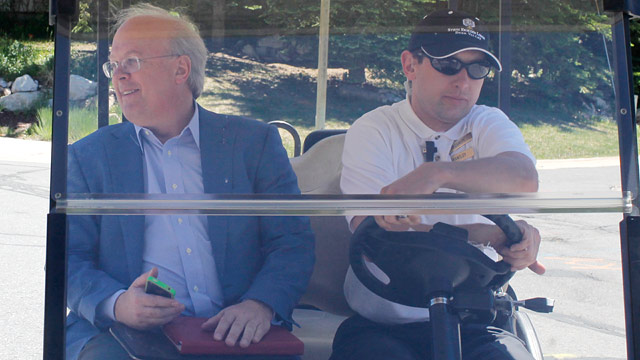 PHOTO: Republican strategist Karl Rove, left, is driven in a golf cart at a private donors' conference for Republican presidential candidate Mitt Romney at The Chateaux at Silver Lake at Deer Valley Resort in Park City, Utah, Saturday, June 23, 2012.