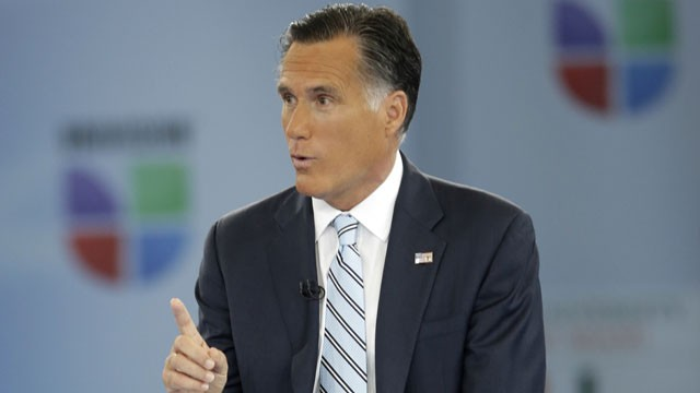 "PHOTO: Republican presidential candidate and former Massachusetts Gov. Mitt Romney participates in a Univision ""Meet the Candidates"" forum with Jorge Ramos and Maria Elena Salinas in Coral Gables, Fla., Wednesday, Sept. 19, 2012."