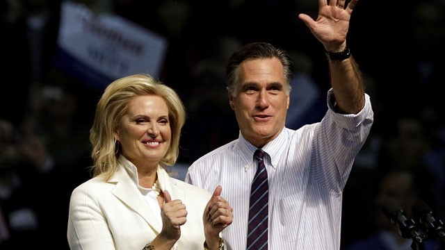 PHOTO: Republican presidential candidate, former Massachusetts Gov. Mitt Romney, right, takes the stage with wife Ann before speaking at a campaign event at the Verizon Wireless Arena, Monday, Nov. 5, 2012, in Manchester, N.H.