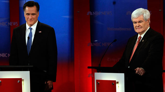 PHOTO: Republican presidential candidates, Mitt Romney, left, and Newt Gingrich at the Republican Presidential debate on Jan. 23, 2012 at the University of South Florida in Tampa, Fla.