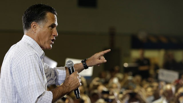 PHOTO: Republican presidential candidate and former Massachusetts Gov. Mitt Romney campaigns at a rally at Darwin Fuchs Pavilion in Miami, Wednesday, Sept. 19, 2012.