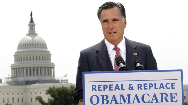 PHOTO: Republican presidential candidate, Mitt Romney speaks about the Supreme Courts health care ruling in Wash., D.C, June 28, 2012.