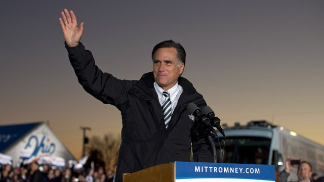 PHOTO: Republican presidential candidate, former Massachusetts Gov. Mitt Romney waves during a campaign rally at the Shelby County Fairgrounds on Wednesday, Oct. 10, 2012, in Sidney, Ohio.