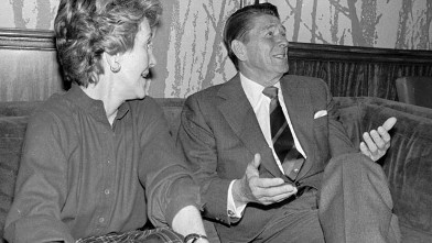 PHOTO: Republican candidate Ronald Reagan sits with his wife, Nancy Feb. 26, 1980 in Reagan campaign headquarters in Manchester, N.H. as a news program announces that three top national staffers were ousted by Reagan in a major shakeup of the Reagan campa