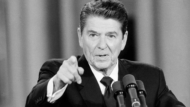 PHOTO: President Ronald Reagan gestures during a news conference in the White House East Room on June 15, 1984, Washington, D.C.