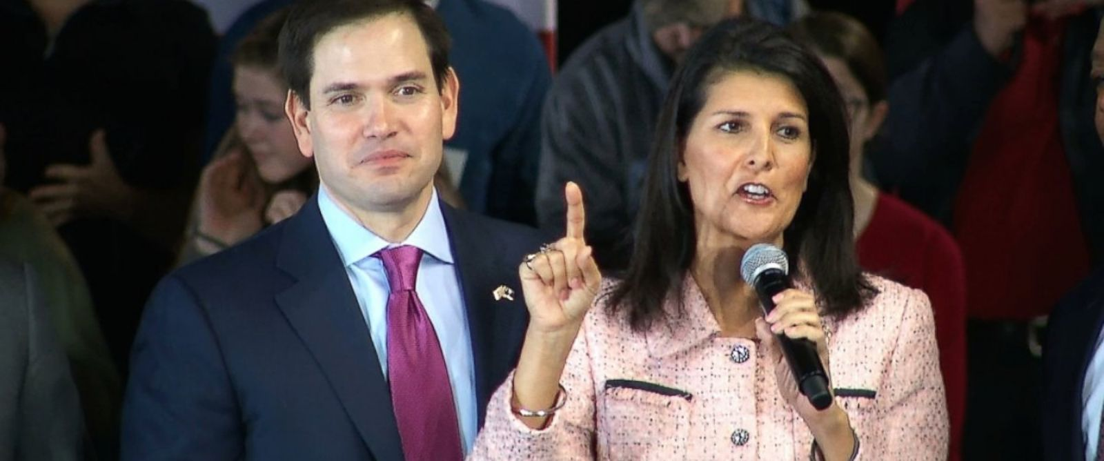 PHOTO: Gov. Nikki Haley campaigns with Republican presidential candidate Sen. Marco Rubio Greenville, S.C., Feb. 18, 2016.