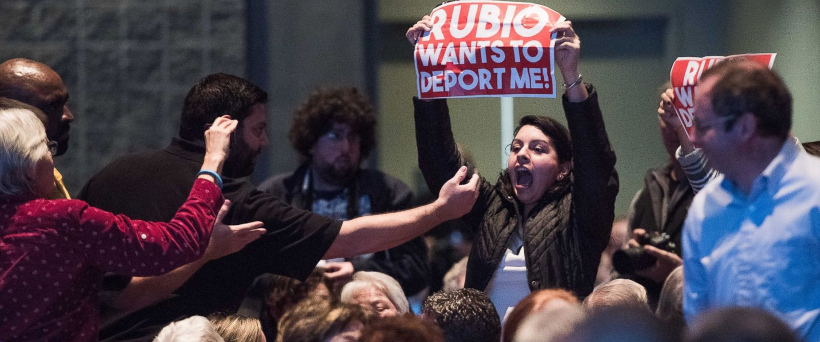 PHOTO: A protester disrupts presidential candidate, Sen. Marco Rubio at an economic forum, Saturday, Jan. 9, 2016, in Columbia, S.C.