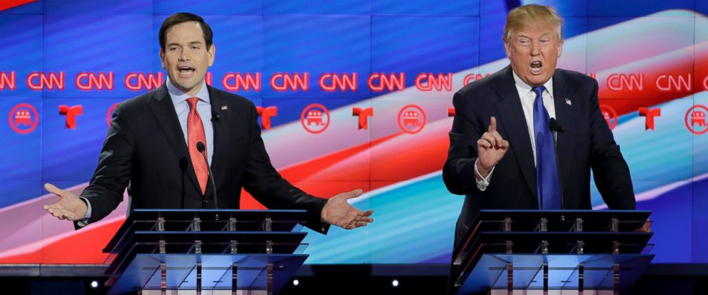 PHOTO: Republican presidential candidates Sen. Marco Rubio and Donald Trump both speak during a Republican presidential primary debate at The University of Houston on Feb. 25, 2016, in Houston.