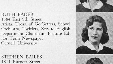 PHOTO: Ruth Bader Ginsburg yearbook photo