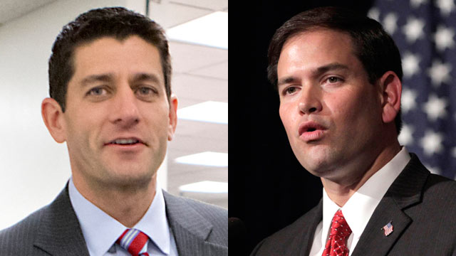 PHOTO: Paul Ryan, the Wisconsin congressman and former vice presidential nominee, and Marco Rubio, the Florida Senator who was a frequent presence on the campaign trail with Mitt Romney this year, unveiled post-election messages, perhaps with an eye towar
