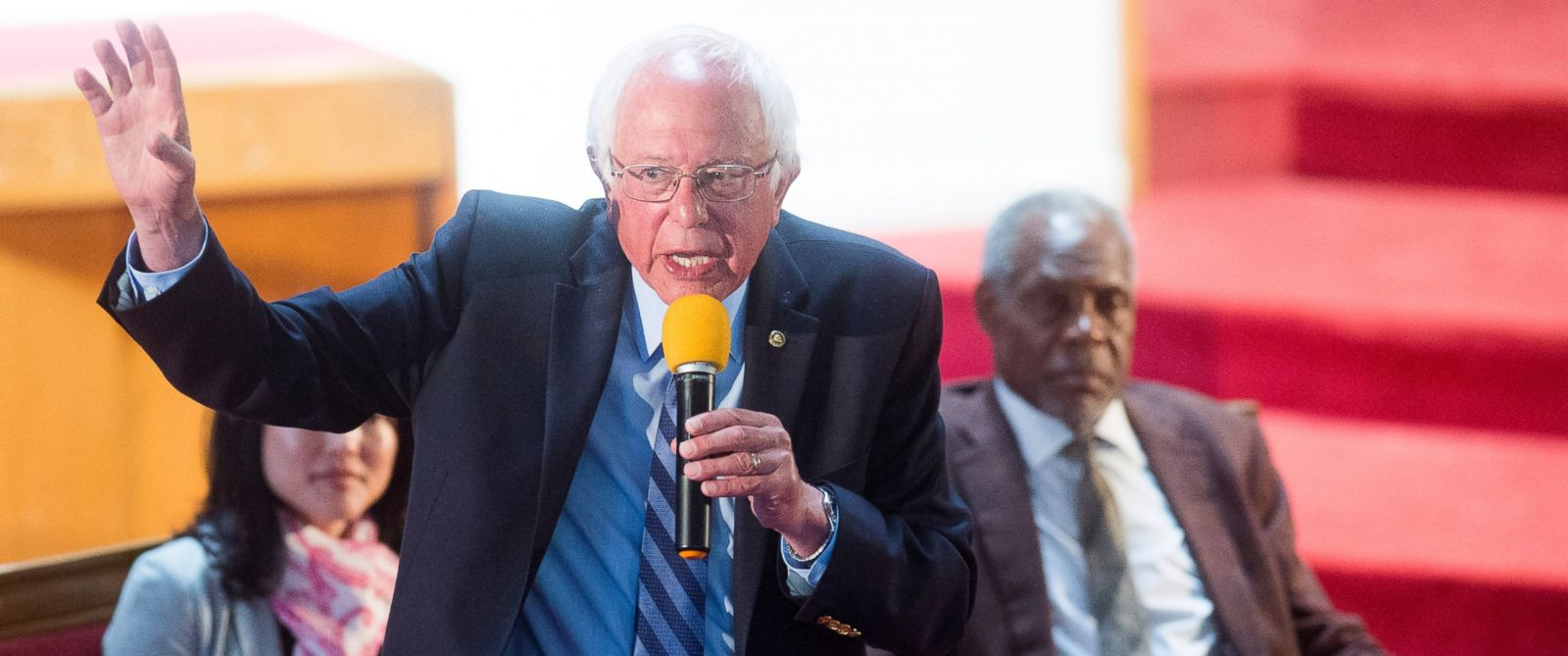 PHOTO: Democratic presidential candidate Sen. Bernie Sanders, I-Vt., speaks at Allen Temple Baptist Church during a campaign rally, Monday, May 30, 2016, in Oakland, Calif. At right is actor Danny Glover.
