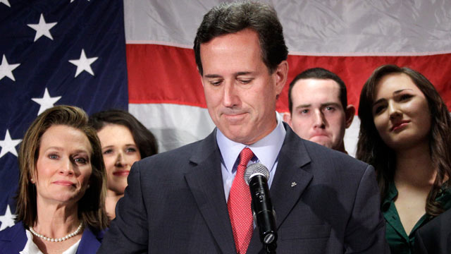 PHOTO: Surrounded by members of his family, former Pennsylvania Sen. Rick Santorum announces he is suspending his candidacy for the presidency, April 10, 2012, in Gettysburg, Pa.