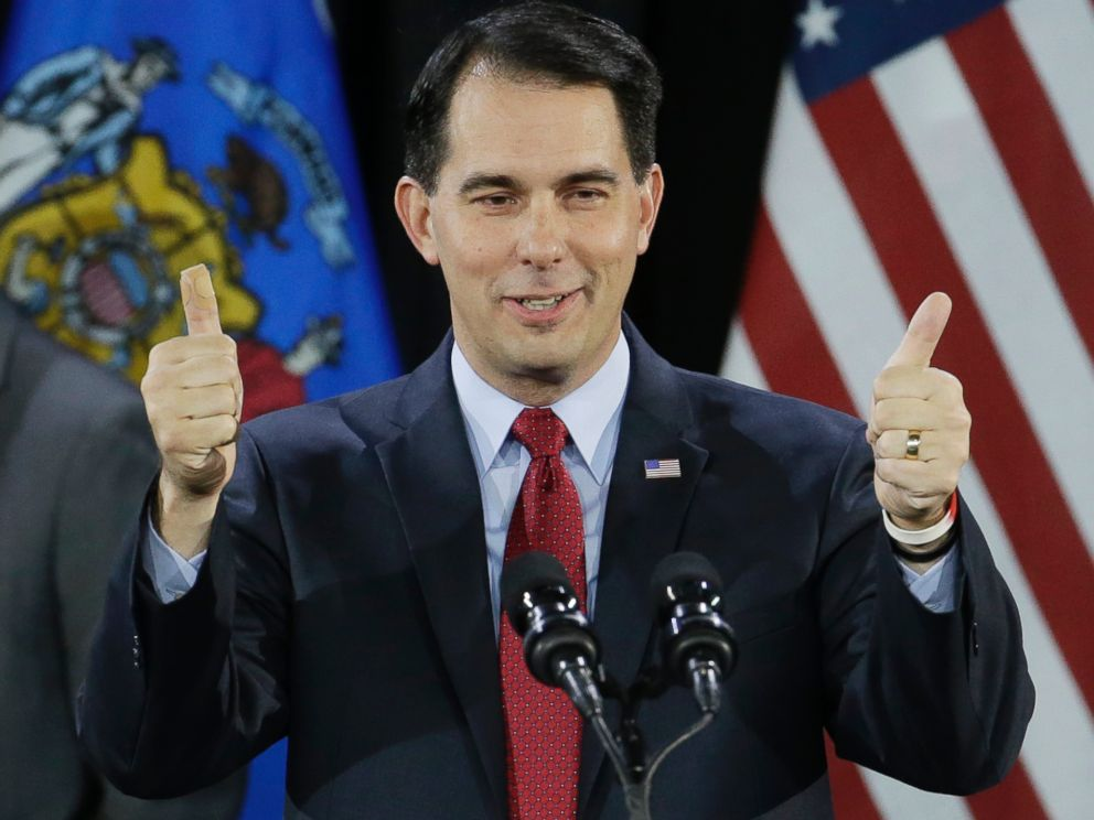PHOTO: Wisconsin Republican Gov. Scott Walker gives a thumbs up as he speaks at his campaign party, Nov. 4, 2014, in West Allis, Wis. Walker defeated Democratic gubernatorial challenger Mary Burke.