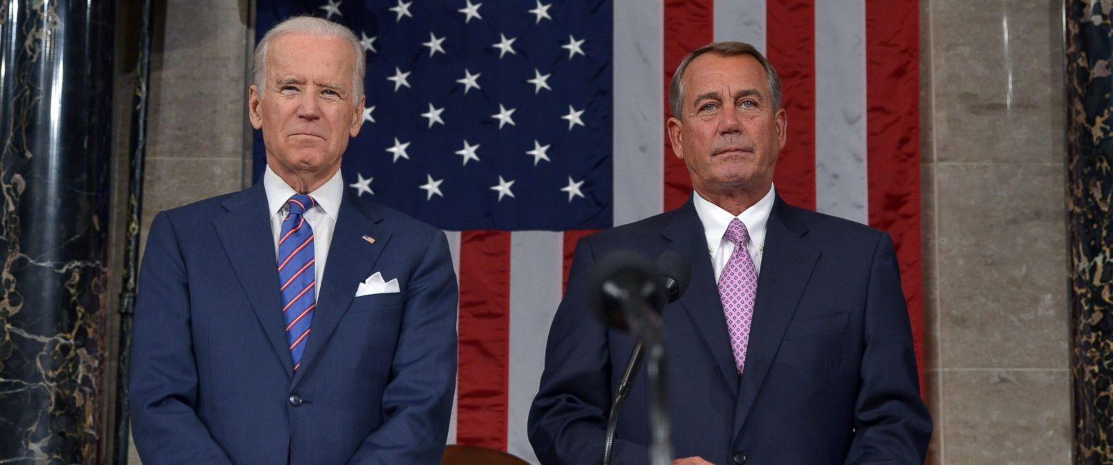 PHOTO: Vice President Joe Biden, left, and Speaker of the House John Boehner wait for the start of the State of the Union address by President Barack Obama, Jan. 20, 2015, in the House Chamber of the Capitol in Washington.