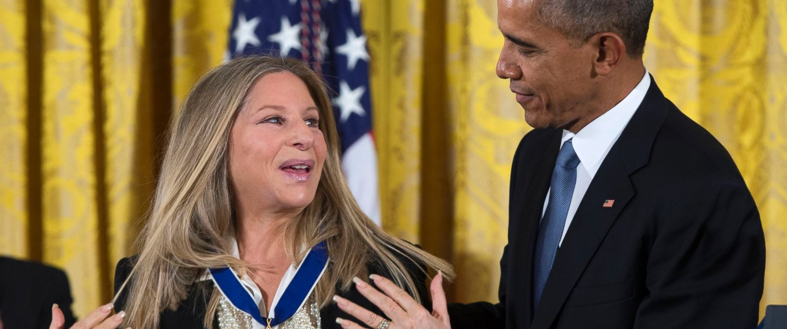 PHOTO: President Barack Obama, right, presents the Presidential Medal of Freedom to Barbra Streisand during a ceremony in the East Room of the White House, Nov. 24, 2015, in Washington.