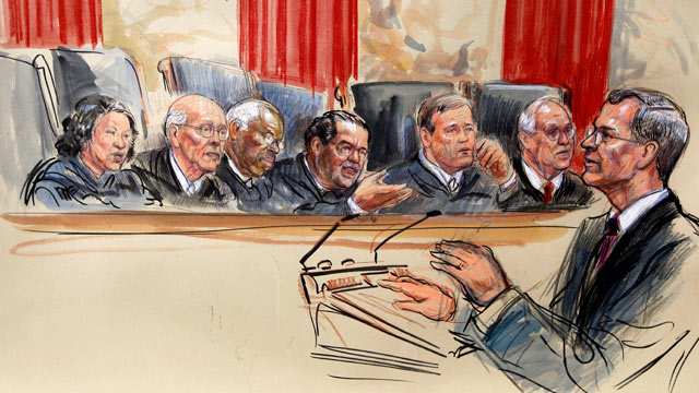 PHOTO: This artist rendering shows attorney Robert A. Long speaks in front of the Supreme Court Justice in Washington, March 26, 2012, as the court began three days of arguments on the health care law signed by President Barack Obama.