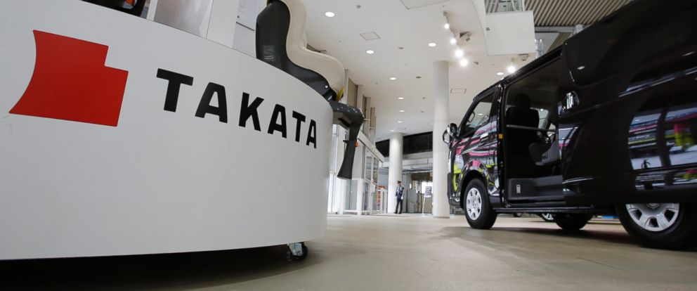 PHOTO: Child seats manufactured by Takata Corp. are displayed at a Toyota Motor Corp.s showroom in Tokyo on Nov. 6, 2014.