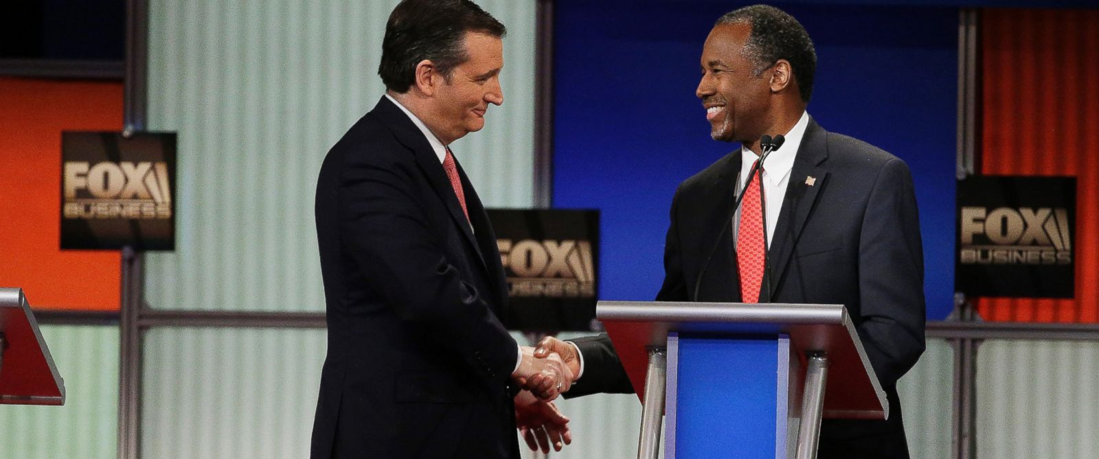 PHOTO: Sen. Ted Cruz speaks with Ben Carson after the Fox Business Network Republican presidential debate at the North Charleston Coliseum, Jan. 14, 2016, in North Charleston, S.C.