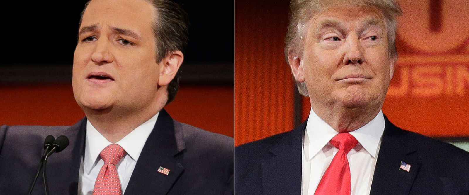 PHOTO: Republican presidential candidates Ted Cruz and Donald Trump during the Fox Business Network Republican presidential debate at the North Charleston Coliseum on Jan. 14, 2016, in North Charleston, S.C.