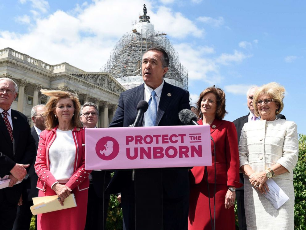 PHOTO: Rep. Trent Franks, R-Ariz., center, speaks during a news conference on the Pain-Capable Unborn Child Protection Act on Capitol Hill in Washington, Wednesday, May 13, 2015.