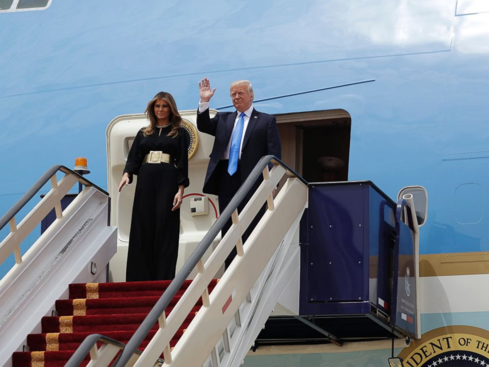 PHOTO: President Donald Trump and first lady Melania Trump arrive at the Royal Terminal of King Khalid International Airport, Saturday, May 20, 2017, in Riyadh.