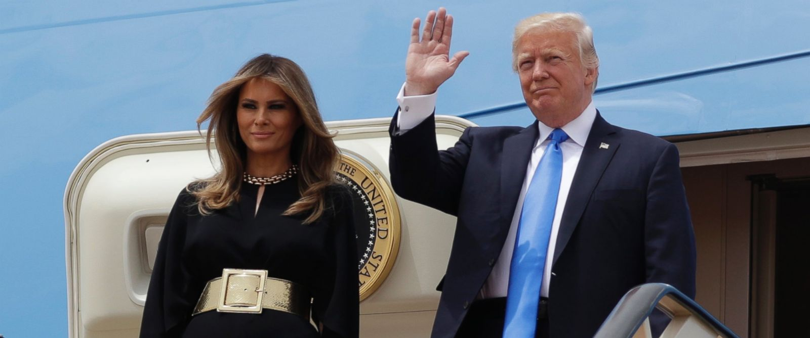 PHOTO: U.S. President Donald Trump, right, and first lady Melania Trump arrive at the Royal Terminal of King Khalid International Airport, Saturday, May 20, 2017, in Riyadh.