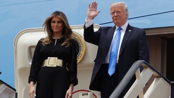 PHOTO: U.S. President Donald Trump, right,  and first lady Melania Trump arrive at the Royal Terminal of King Khalid International Airport, Saturday, May 20, 2017, in Riyadh.