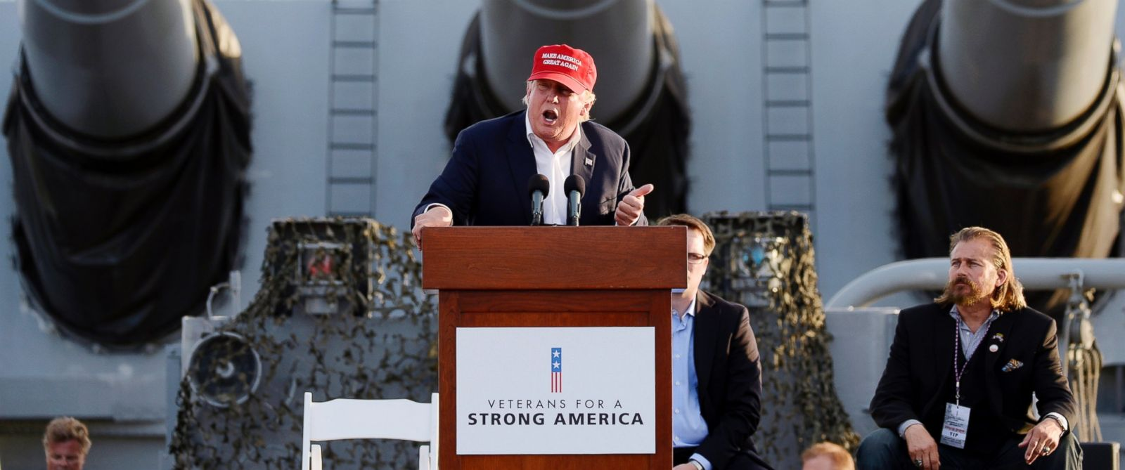 PHOTO: Republican presidential candidate Donald Trump speaks during a campaign event aboard the retired ship USS Iowa in Los Angeles on Tuesday, Sept. 15, 2015.