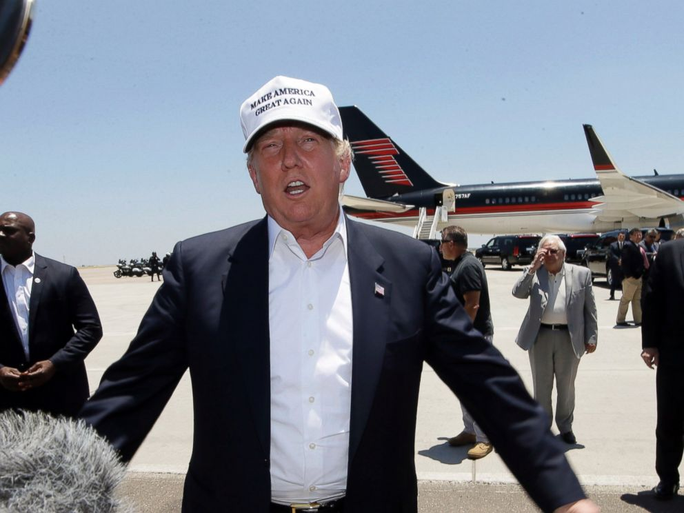 PHOTO: Republican presidential hopeful Donald Trump speaks after arriving at the airport for a visit to the U.S. Mexico border in Laredo, Texas, July 23, 2015.