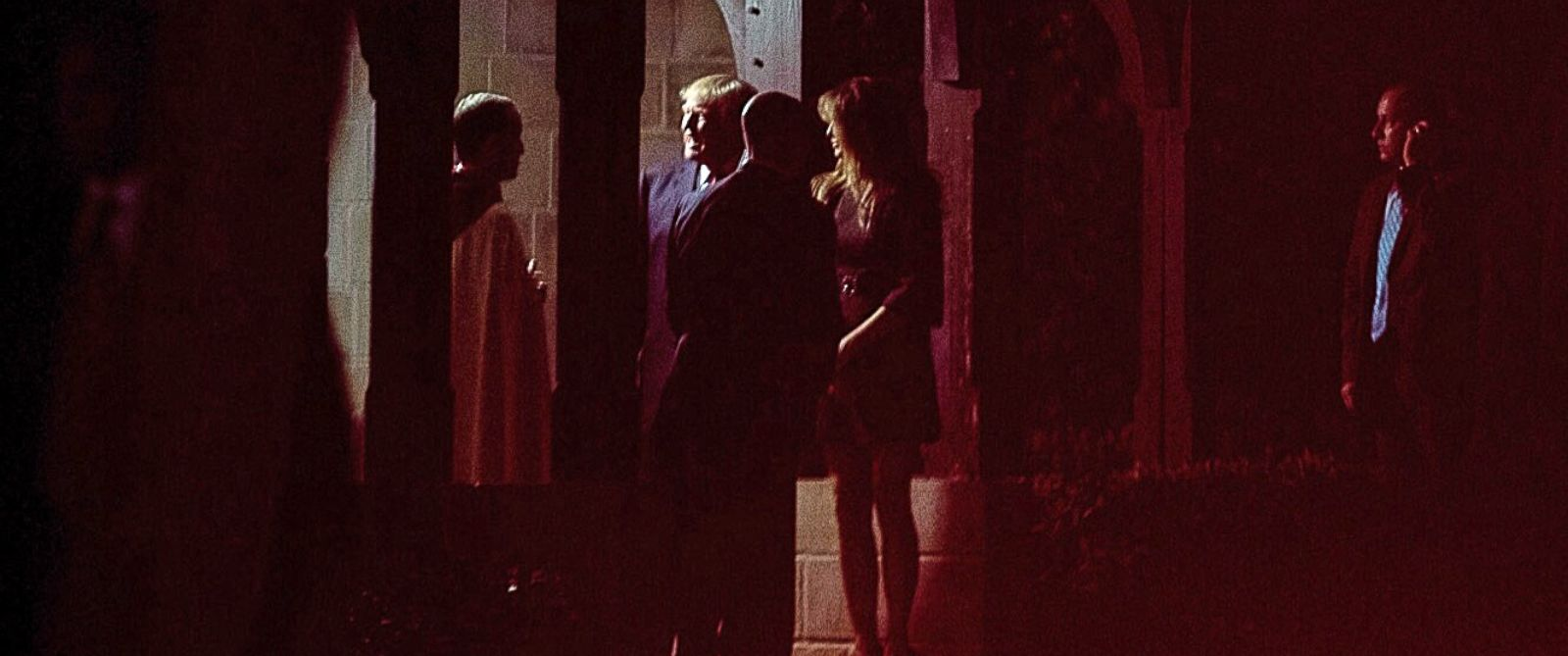 PHOTO: President-elect Donald Trump, second from left, accompanied by his wife, Melania Trump, center right, departs after attending a Christmas Eve service at the Church of Bethesda-by-the Sea, in West Palm Beach, Fla., Saturday, Dec. 24, 2016.