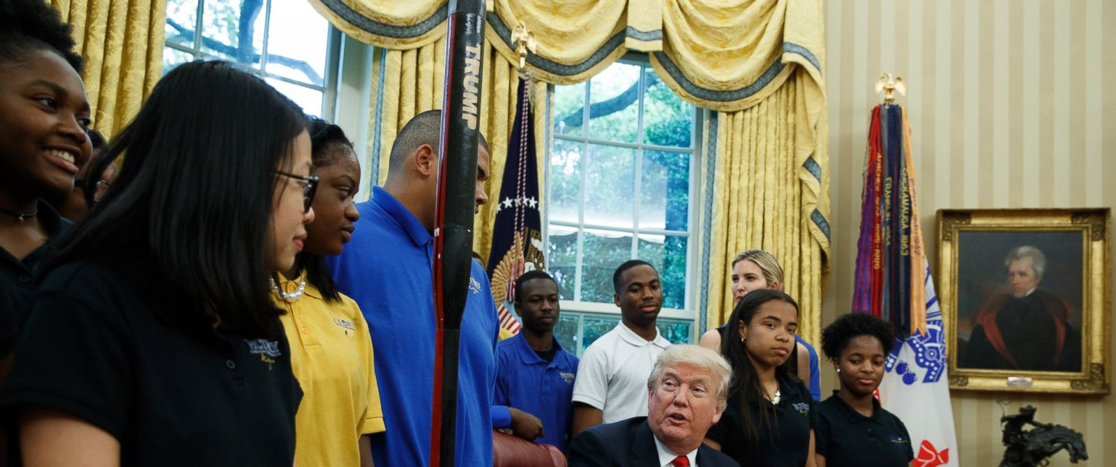 PHOTO: President Donald Trump speaks to members of the rocket team from Victory Christian Center School in Charlotte, N.C., Friday, May 12, 2017, in the Oval Office of the White House in Washington.