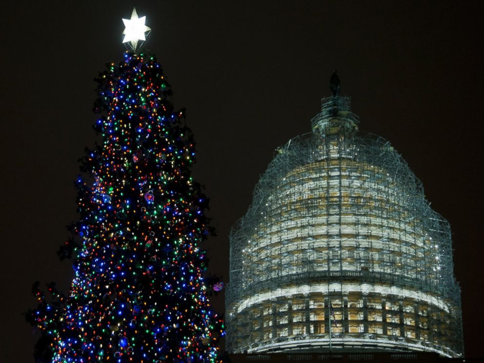 PHOTO: The U.S. Capitol Christmas tree is seen on the West Front of the Capitol in Washington on Dec. 2, 2014. The 2014 U.S.