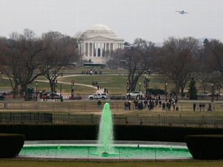 White House Fountain Dyed Green for St. Patrick's Day