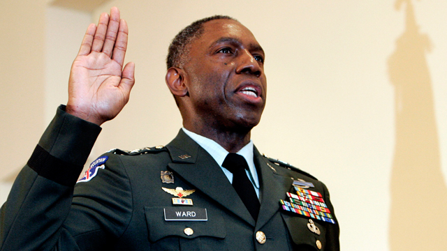 PHOTO: In this May 26, 2006 photo, Army Lt. Gen. William E. Kip Ward is administered the oath of four-star General, the Army's highest rank of general, by Command Sgt. Major Mark Ripka, right, at Fort Myer, Va.