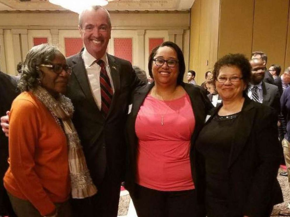 PHOTO: Ashley Bennett is pictured with Pleasantville, New Jersey Municipal Chair Irma Curry, New Jersey Governor-elect Phil Murphy, and her mother.
