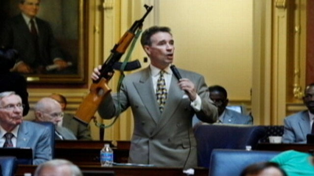 VIDEO: Virginia Del. Joe Morrissey showed off the weapon while pushing for gun-control laws.