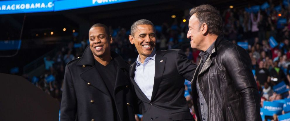 PHOTO: President Barack Obama stands on stage with rapper Jay-Z and musician Bruce Springsteen at an election campaign rally in Columbus, Ohio, Nov. 5, 2012.