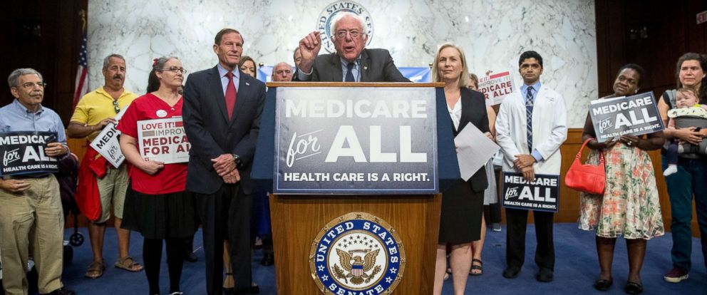 PHOTO: Sen. Bernie Sanders, joined by Sen. Richard Blumenthal, Sen. Kirsten Gillibrand, and supporters, speaks at a news conference on Capitol Hill in Washington, Sept. 13, 2017, to unveil their Medicare for All legislation to reform health care.