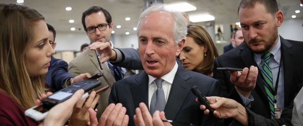 PHOTO: Senate Foreign Relations Committee Chairman Bob Corker talks to reporters as he returns to his office from a vote, on Capitol Hill in Washington, Oct. 25, 2017.