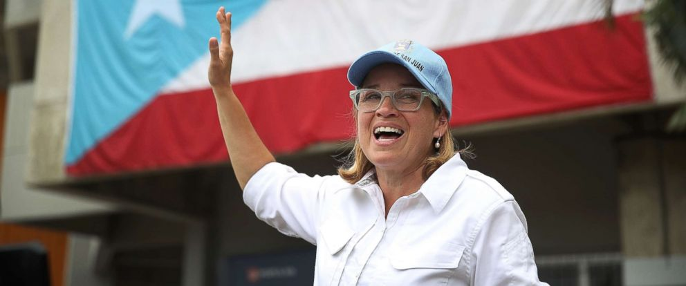 PHOTO: San Juan Mayor Carmen Yulin Cruz speaks to the media as she arrives at the temporary government center setup at the Roberto Clemente stadium in the aftermath of Hurricane Maria, Sept. 30, 2017 in San Juan, Puerto Rico.