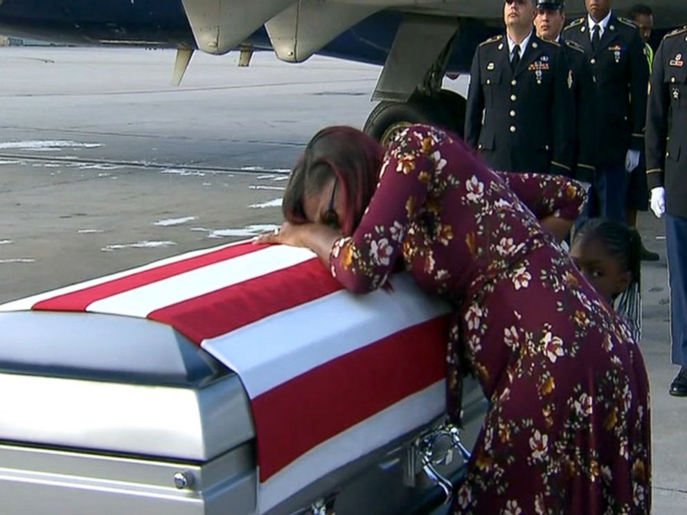 PHOTO: Myeshia Johnson sobs over the casket believed to contain the remains of her husband, Sgt. La David Johnson, who was killed in Niger.