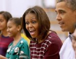 Michelle Obama Volunteers At DC Food Bank