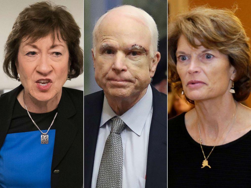 Sen. Susan Collins, R-Maine, on Capitol Hill in Washington, July 13, 2017.| Sen. John McCain returns to the Senate, July 25, 2017. | Senator Lisa Murkowski arrives for a Senate health care vote on Capitol Hill, July 27, 2017.